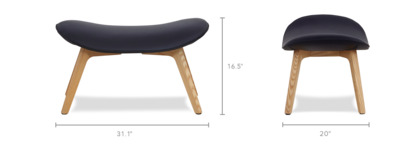 dimension of Gable Ottoman Leather