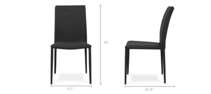 dimension of Zeb Stackable Chair