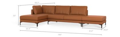 dimension of Adams Chaise Sectional Sofa with Ottoman Leather