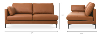 dimension of Adams Left Facing 2-Seater Leather