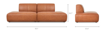 dimension of Todd Chaise Sofa Leather