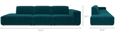 dimension of Todd Side Chaise Extended Sofa