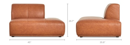 dimension of Todd Right Chaise Leather