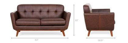 dimension of Hans Loveseat Leather