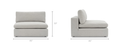dimension of Noah Armless Sofa