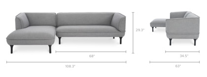 dimension of Bickerton Sectional Sofa