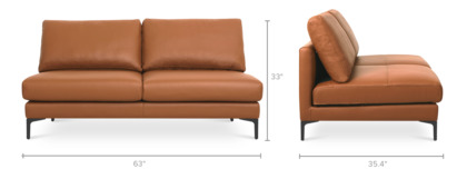 dimension of Adams Armless 2-Seater Leather