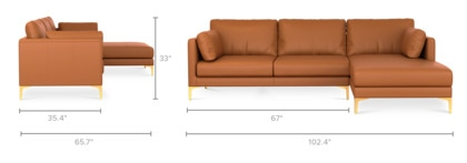 dimension of Adams Chaise Sectional Sofa Leather