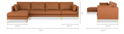 dimension of Adams Extended Chaise Sectional Sofa Leather