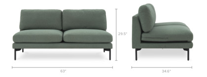 dimension of Pebble Armless 2-Seater Sofa