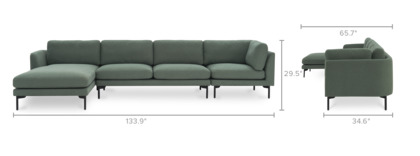 dimension of Pebble Extended Chaise Sectional Sofa