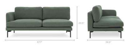 dimension of Pebble Left Facing 2-Seater Sofa