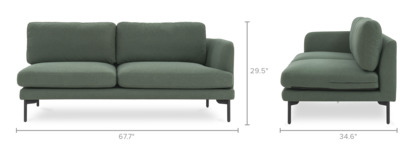 dimension of Pebble Right Facing 2-Seater Sofa