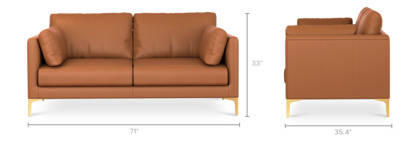 dimension of Adams Loveseat Leather