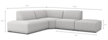 dimension of Todd Sectional Chaise Sofa with Ottoman