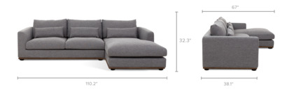 dimension of Alfie Chaise Sectional Sofa