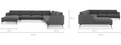 dimension of Pebble U-Shape Sectional Sofa with Chaise