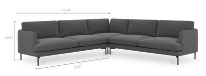 dimension of Pebble L-Shape Sectional Sofa