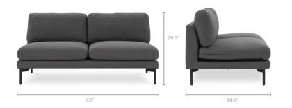 dimension of Pebble Armless 2-Seater Sofa