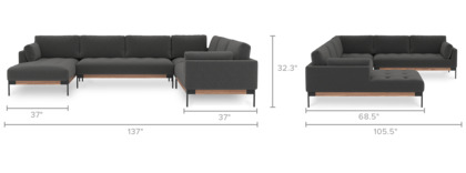 dimension of Ethan U-Shape Sectional Sofa with Chaise