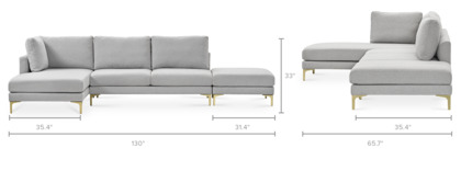 dimension of Adams Chaise Sectional Sofa with Ottoman