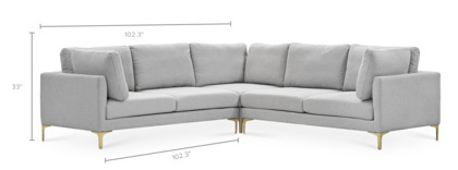 dimension of Adams L-Shape Sectional Sofa