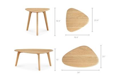 dimension of Vincent Coffee Table Set, Oak