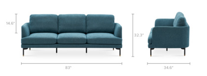 dimension of Pebble 3 Seater Sofa