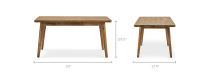 dimension of Seb Dining Table