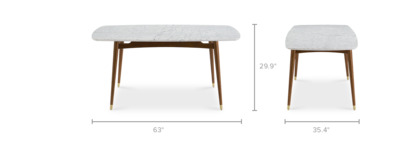 dimension of Kelsey Marble Dining Table, Walnut Stain