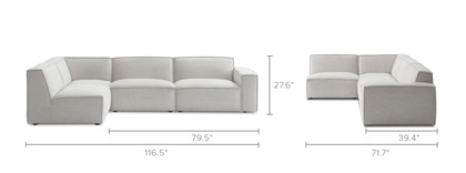 dimension of Jonathan Chaise Sectional Sofa