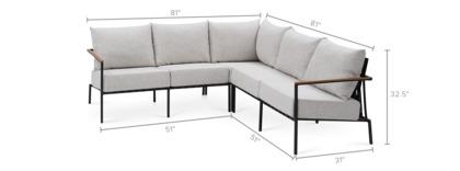 dimension of Sorrento L-Shape Sectional Sofa
