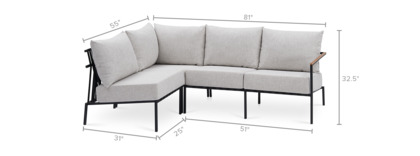 dimension of Sorrento Sectional Sofa