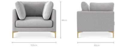 """dimension of Adams Armchair, 18"""" Cushion"""