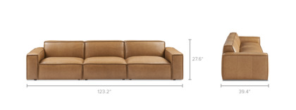 dimension of Jonathan Leather Extended Sofa