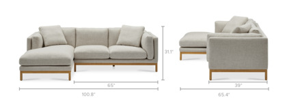 dimension of Owen Chaise Sectional Sofa, Natural