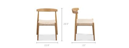 dimension of Austen Chair, White Wash