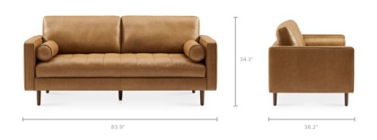 dimension of Madison Leather 3 Seater Sofa