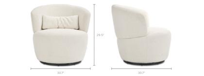 dimension of Amber Bouclé Swivel Chair, Snow